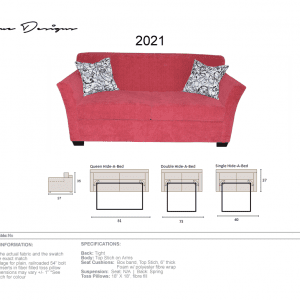 2021 Model  CUSTOM MADE: Sofa, Love, Chair with hideabed