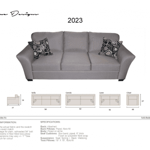2023 Grey sofa option. Made in Canada. Custom made