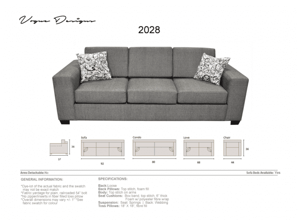 2028 Grey Sofa with pillows