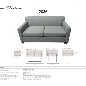 2036 Model  CUSTOM MADE: Queen/Double/Single Hideabed, Sofa, Love, Chair