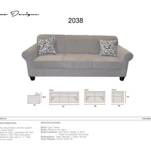 2038 Model  CUSTOM MADE: Sofa, Condo, Love, Chair and a half, Chair