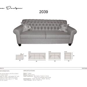 2039 Model  CUSTOM MADE: Sofa, Condo, Love, Chair and a half, Chair