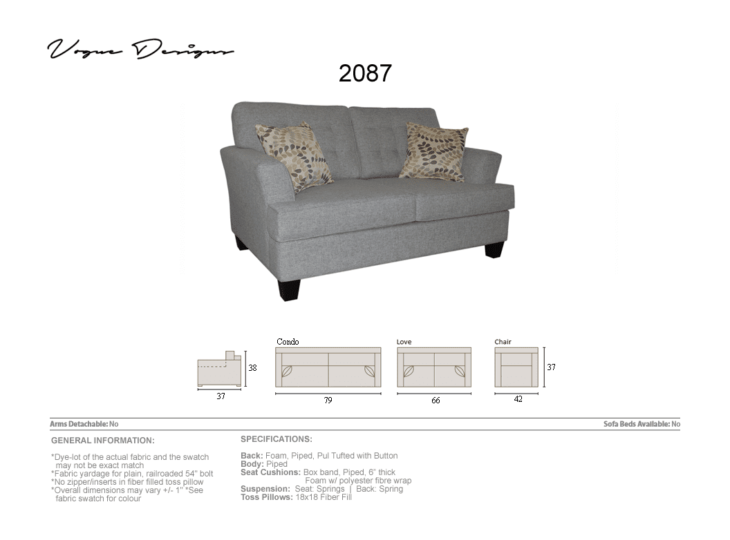save off af3d4 cc6d4 2087 Model - CUSTOM MADE: Sectional, Sofa, Condo, Love, Chair and a half,  Chair