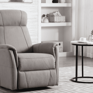 light grey power recliner with swivel base and rocker