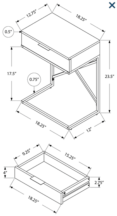 Q025 SIDE TABLE DIMENSIONS