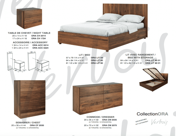 ORA bedroom set info page